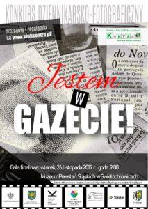 Plakat informujący o gali finałowej konkursu Jestem w Gazecie